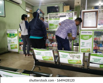 January 31, 2020 Jakarta/Indonesia Interior of a pharmacy with goods and showcases. Medicines and vitamins for health. Shop concept, medicine and healthy lifestyle