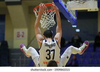 JANUARY 31, 2021 - KHARKIV, UKRAINE: Ukrainian Basketball Superleague. Kharkivski Sokoly - Mykolaiv