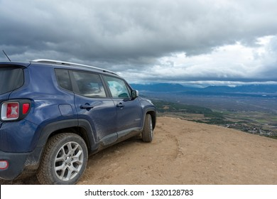 JANUARY 31,2018 TURKEY.The SUV Jeep Renegade on the hill off the road.
