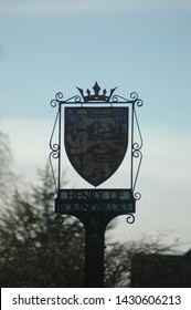 January 3rd 2016: Lincolnshire, UK - sign outside Bolingbroke castle with Henry of Bolingbroke's coat of arms.