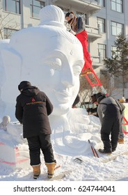 January 4, 2017, Harbin, China Harbin, international college students snow sculpture competition.