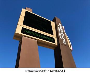 JANUARY 4, 2019 - SCOTTSDALE, AZ / USA: Highway signage for the newly developed Scottsdale Autoshow in Scottsdale, Arizona on January 4, 2019.