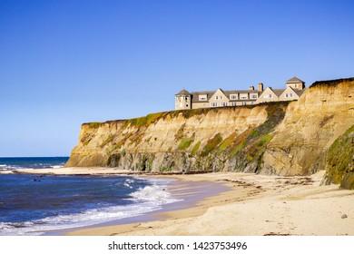 January 5, 2017 Half Moon Bay / CA / USA - Sandy beach and the Ritz Carlton Hotel on the Pacific Ocean Coastline