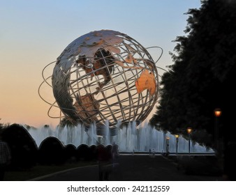 January 6, 2015 - An illustration of the Unisphere from the 1964-1965 Worlds Fair. The 12-story high stainless steel globe, symbolizing peace, is located in Flushing Meadows - Corona Park, New York.