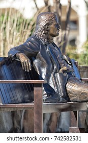 January 7, 2016 Boerne, Texas, USA: closeup of the statue of wild bill in the historic town center