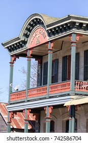January 7, 2016 Comfort, Texas: closeup details of a well-preserved victorian style building in the historic center