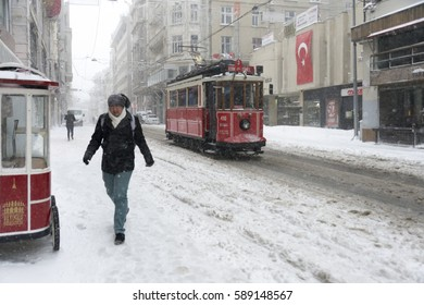 JANUARY 7, 2017 ISTANBUL.Snow on Istanbul streets.Covered by heavy snow.