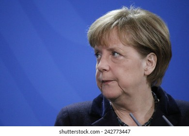 JANUARY 8, 2015 - BERLIN: German Chancellor Angela Merkel at a press conference after a meeting with the Ukrainian Prime Minister in the Chanclery in Berlin.