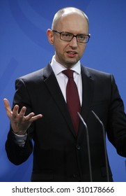 JANUARY 8, 2015 - BERLIN: Ukrainian Prime Minister Arseniy Yatsenyuk (Arsenij Jazenjuk) at a press conference after a meeting with the German Chancellor in the Chanclery in Berlin.