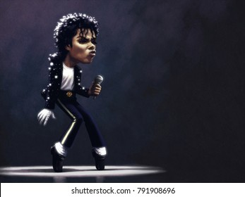 January 8, 2018: Michael Jackson toe stand, Billie Jean live performance on stage, Caricature character, Digital painting illustration
