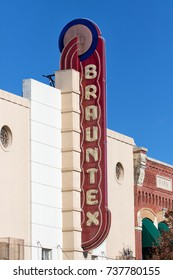 January 9, 2016 New Braunfels, Texas, USA: Opened in 1942 as a movie theatre the Art Deco-styled Brauntex is located in the heart of historic downtown