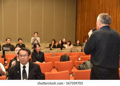 January 9, 2016:Graduate students and education people in conference room for profession seminar and the speaker is presenting at Faculty of Education, Chulalongkorn University, Bangkok, Thailand.