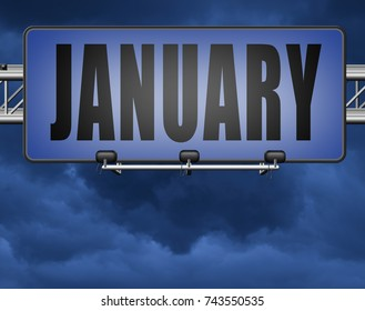 January the first month of the next year in winter season road sign billboard 3D, illustration