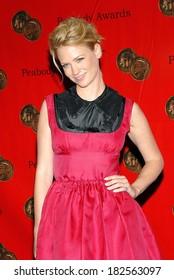 January Jones, wearing a Miu Miu dress, at 67th Annual George Foster Peabody Awards, Waldorf-Astoria Hotel, New York, NY, June 16, 2008