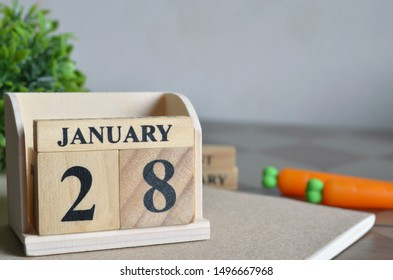 January Month, Appointment date with number cube design. Date 28.