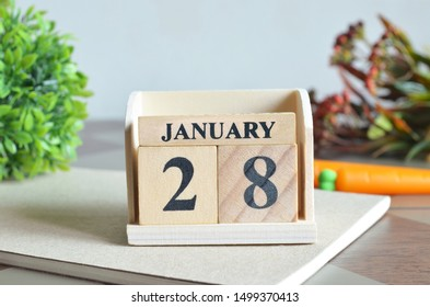 January Month, Appointment date with number cube design for background. Date 28.