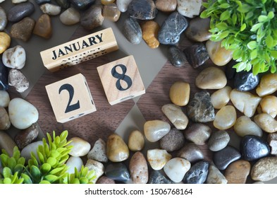 January month, Appointment design in natural concept, Date 28.