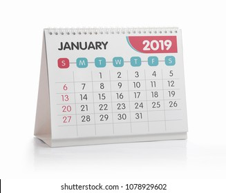 January White Office Calendar 2019 Isolated on White