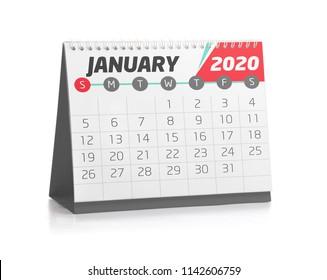 January White Office Calendar 2020 Isolated on White