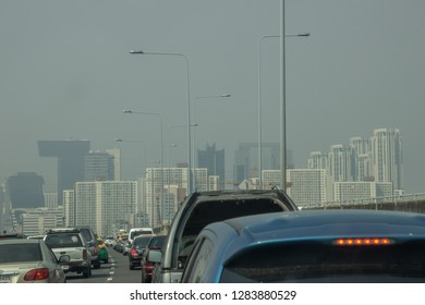January-14-2019,Bangkok,Thailand;Particulate matter(PM)2.5 micron cover the big city, because of there are many car exhaust and construction in the town.big problems affecting people's health.