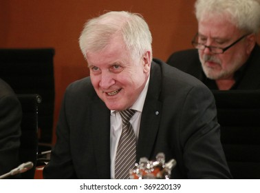 JANUARY28, 2016 - BERLIN: Horst Seehofer at a meeting with the German Chancellor in the Federal Chanclery.