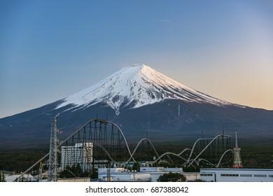 Japan - 16 APR, 2017 :  Fuji mountain from kawaguchiko lake, Mount Fuji located on Honshu Island, is the highest mountain in Japan.