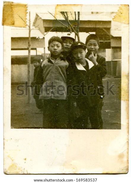 Japan 1950s Antique Photo Shows Four Stock Photo Edit Now