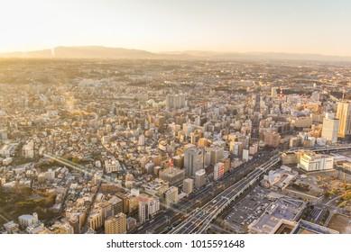 Japan - 25 Jan,2017 : View of skycrapper of Yokohama from top of building