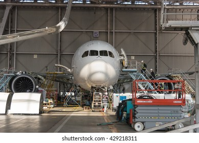 JAPAN AIRLINES HANGAR - HANEDA AIRPORT - TOKYO - JAPAN - MAR 2015: JAL Aircraft Airplane in JAL Hangar for Inspection and Maintenance at Haneda Airport on 2 March 2015
