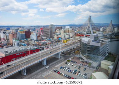 Japan. Aomori. The view of the city from height.  It is a famous part of the landscape of Aomori.