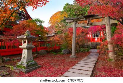 Japan autumn image. Bishamon-do temple in Kyoto city. Japanese red momiji maples.