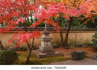 Japan in autumn (red maple trees in temples of Kyoto)