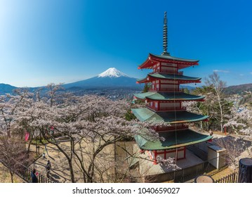 Japan beautiful landscape Mountain Fuji and Chureito red pagoda with cherry blossom sakura