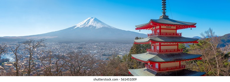 Japan beautiful landscape Mountain Fuji and Chureito red pagoda
