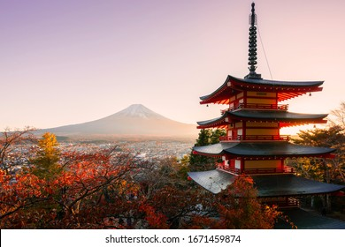 Japan Beautiful view of mountain Fuji and Chureito pagoda around maple leaf tree in autumn season at Yamanashi Japan