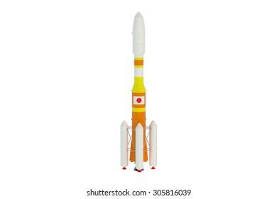 Japan cargo rocket  isolated on white background