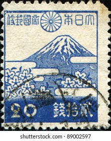 JAPAN - CIRCA 1942: A stamp printed in Japan shows Mount Fuji, circa 1942