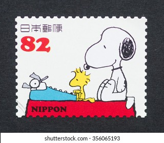 JAPAN - CIRCA 2014: a postage stamp printed in Japan showing an image of Peanuts cartoon characters, circa 2014.