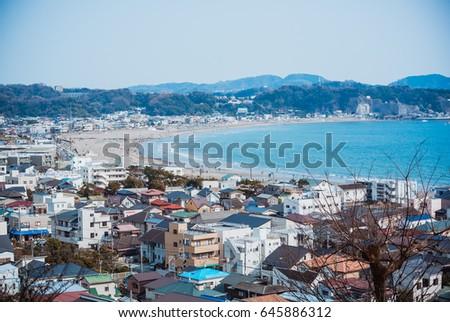 Japan City Sea Landscape Nature Wallpaper Background