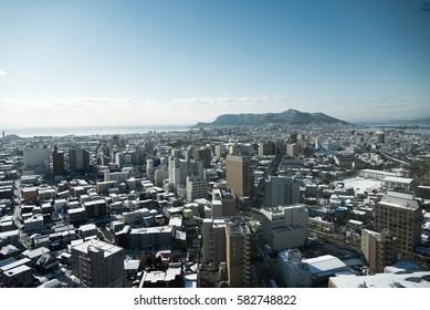 JAPAN DEC 2015 : Hakodate : City view from Goryokaku Tower in Winter