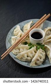 Japan dumplings gyoza on plate