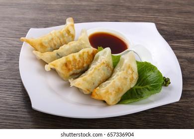 Japan dumplings - Gyoza with shrimp meat and vegetables