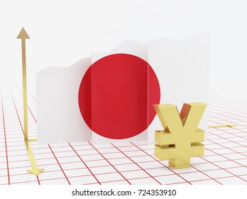 Japan economy growth bar graph with flag and currency symbol.