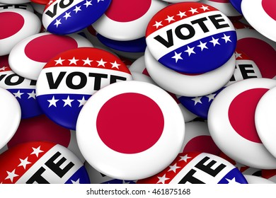 Japan Elections Concept - Japanese Flag and Vote Badges 3D Illustration