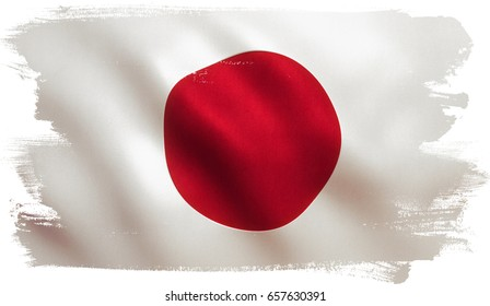 Japan flag background with fabric texture. 3D illustration.