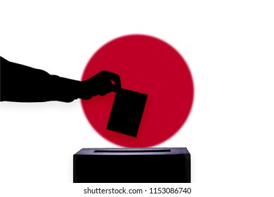 Japan flag with ballot box during elections / referendum