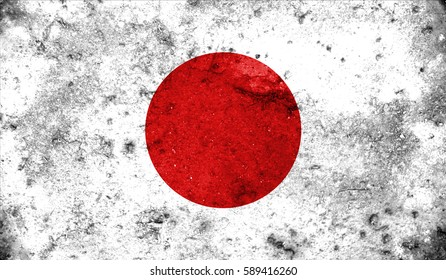 Japan flag on old background retro effect, close up