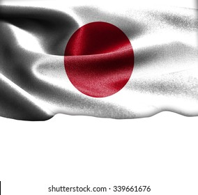 Japan flag on smooth silk texture Space for Text