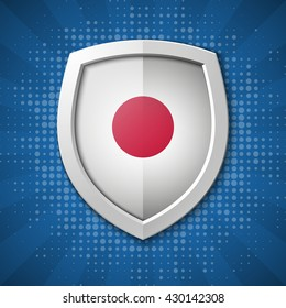 Japan Flag Protection shield concept. Safety badge icon. Privacy banner. Security label. Defense tag. Presentation sticker shape. Defense sign. Vector illustration