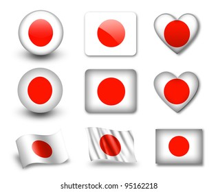 The Japan flag - set of icons and flags. glossy and matte on a white background.